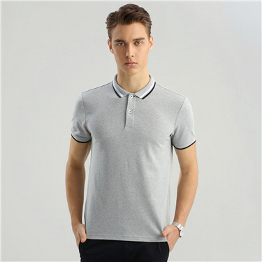 Contrast-trim short sleeves polo
