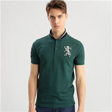 男裝勝利獅王3D刺繡彈力萊卡POLO衫