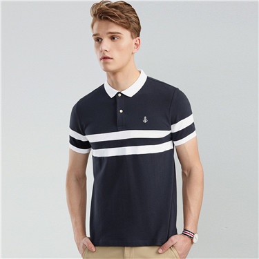 Embroidery color-blocking polo