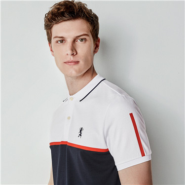 Lion embroidery color-blocking  polo