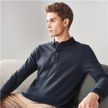 Solid slim long-sleeve polo shirt