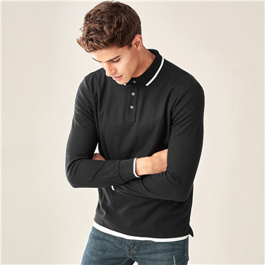 Contrast color slim long-sleeve polo shirt