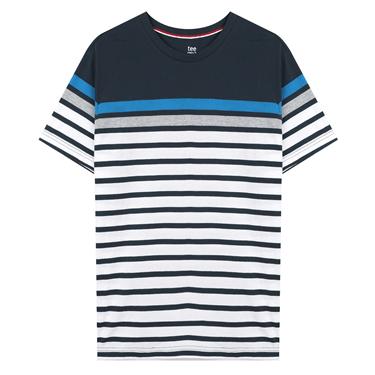 男裝簡約條紋風格圓領T恤