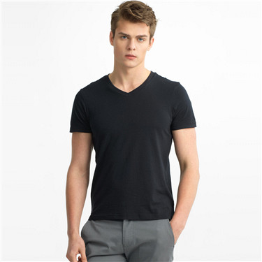 男裝素色V領短袖T恤