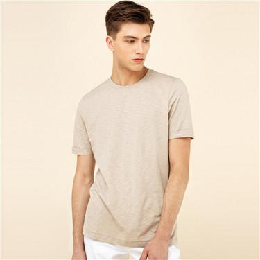 简约素色竹节棉修身短袖T恤