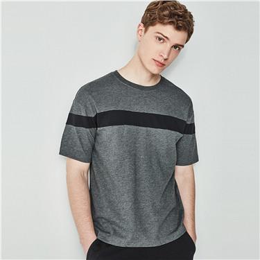 速干拼接圆领短袖T恤