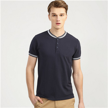 Henley collar short sleeves tee