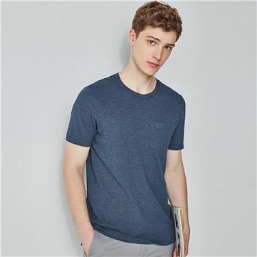珠地布单边口袋修身圆领T恤