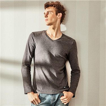 Cotton solid V neck long-sleeve tee