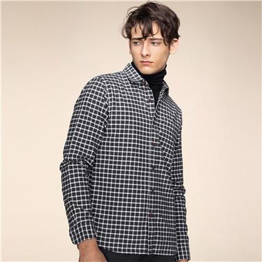 純棉磨毛修身單口袋長袖襯衫