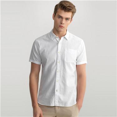 簡約素色麻棉修身短袖襯衫