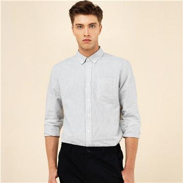 牛津纺纯棉单标袋修身长袖休闲衬衫