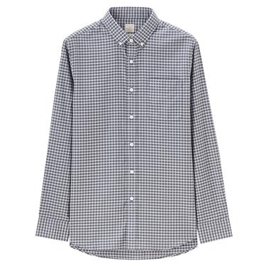 素色牛津紡修身單邊口袋長袖襯衫