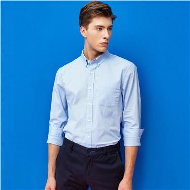 弹力牛津纺修身长袖休闲衬衫