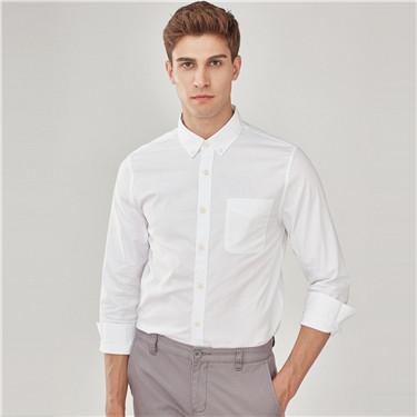牛津纺纯棉修身单标袋长袖衬衫