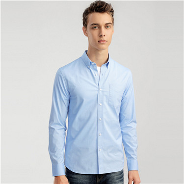 Oxford cotton slim pocket shirt