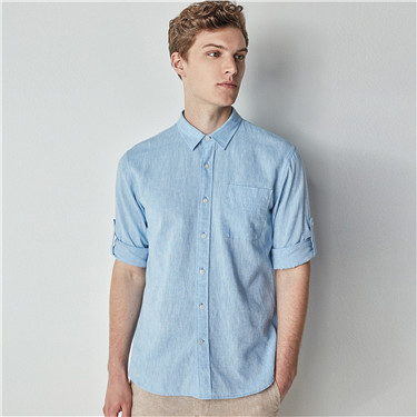 Linen roll sleeve shirt