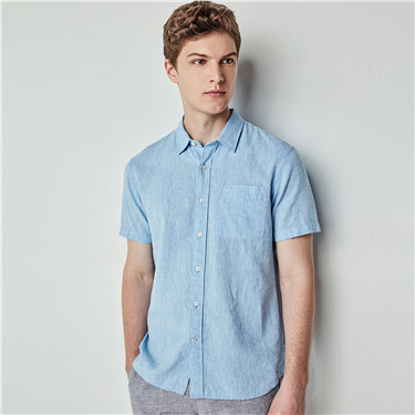 Linen-cotton short sleeve single pocket shirt