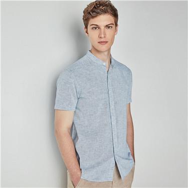 天然麻棉立領修身短袖襯衫