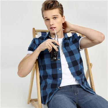 纯棉格子修身短袖休闲衬衫