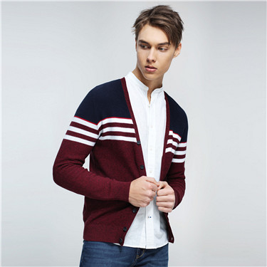 Combed cotton V neck cardigan
