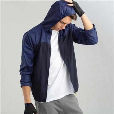 簡約素色立領藏帽防風薄風衣