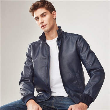 Stand collar PU bomber jacket