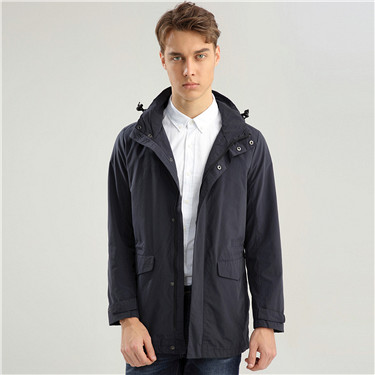 Elastic waistband detachable hood jacket