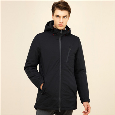 Mockneck hooded coat