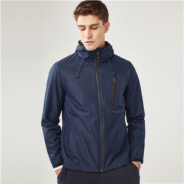 Solid multi-pocket hooded jacket