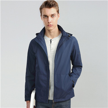 Solid kangaroo pocket hooded jacket