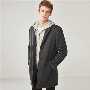 花纱西装领中长款毛呢大衣