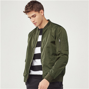 Solid slim bomber jacket