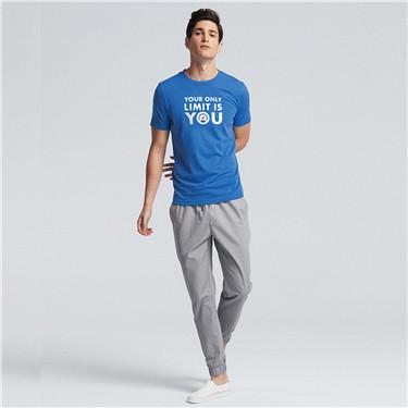 男裝口號印花圓領短袖T恤