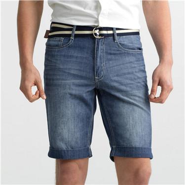 Lightweight denim slim bermuda (with belt)