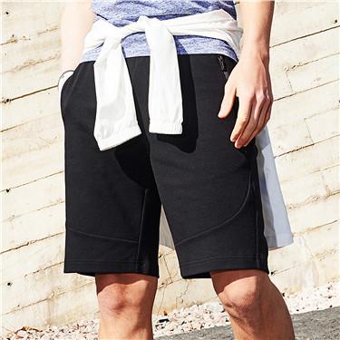 双面空气层拉链口袋休闲短裤