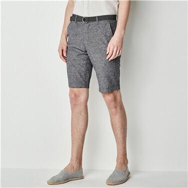 男裝附腰帶素色棉麻休閒五分褲