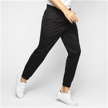 男裝純棉素色修身梭織束口褲