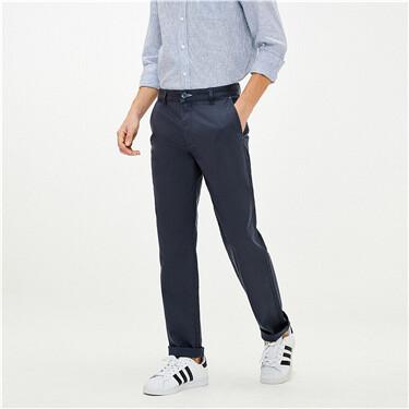 簡約素色彈力棉修身窄腳卡其褲