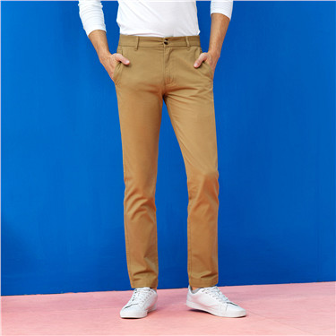 厚實純棉純色休閑褲