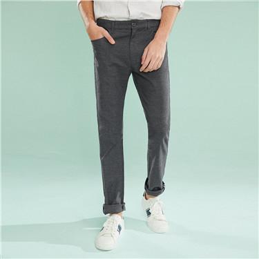簡約素色彈力棉窄管休閒褲