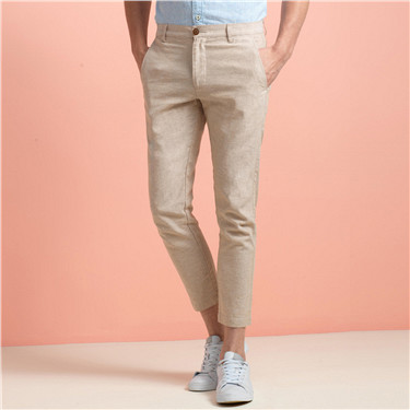 Ankle-length linen pants