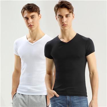 纯棉两件装V领T恤