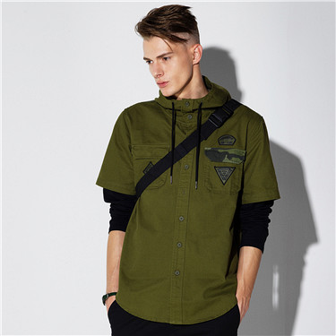Layered camo hooded shirts