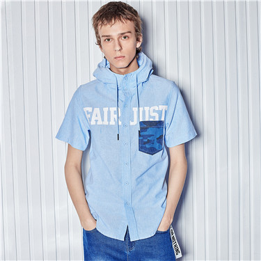 Oxford printed letter hooded shirt