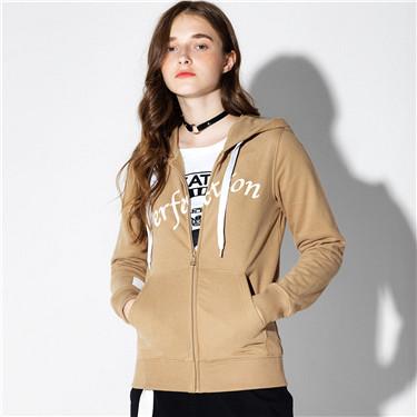Printed letter zip hoodie