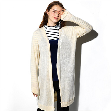 Mid long letters embroidery cardigan
