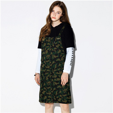 Printed letter dress overalls