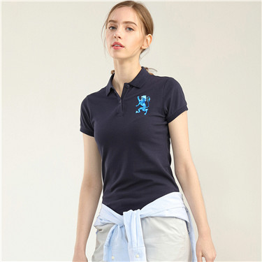 Lion embroidery short sleeves polo