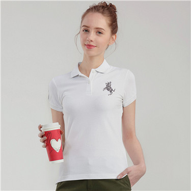 Embroidery pattern short sleeves polo